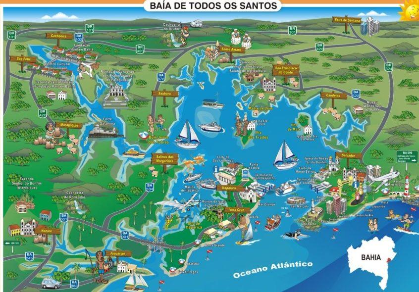 mapa ilustrado da baía de todos os santos